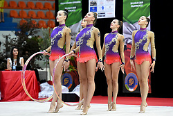 July 28, 2018 - Chieti, Abruzzo, Italy - Rhythmic gymnastics team of Germany performs its 5 hoops routine during the Rhythmic Gymnastics pre World Championship Italy-Ukraine-Germany at Palatricalle on 29th of July 2018 in Chieti Italy. (Credit Image: © Franco Romano/NurPhoto via ZUMA Press)