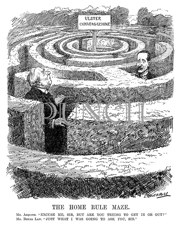 "The Home Rule Maze. Mr Asquith. ""Excuse me, Sir, but are you trying to get in or out?"" Mr Bonar Law. ""Just what I was going to ask YOU, Sir."" (Asquith and Bonar Law lost in a maze with the sign Ulster Conversazione at the centre)"