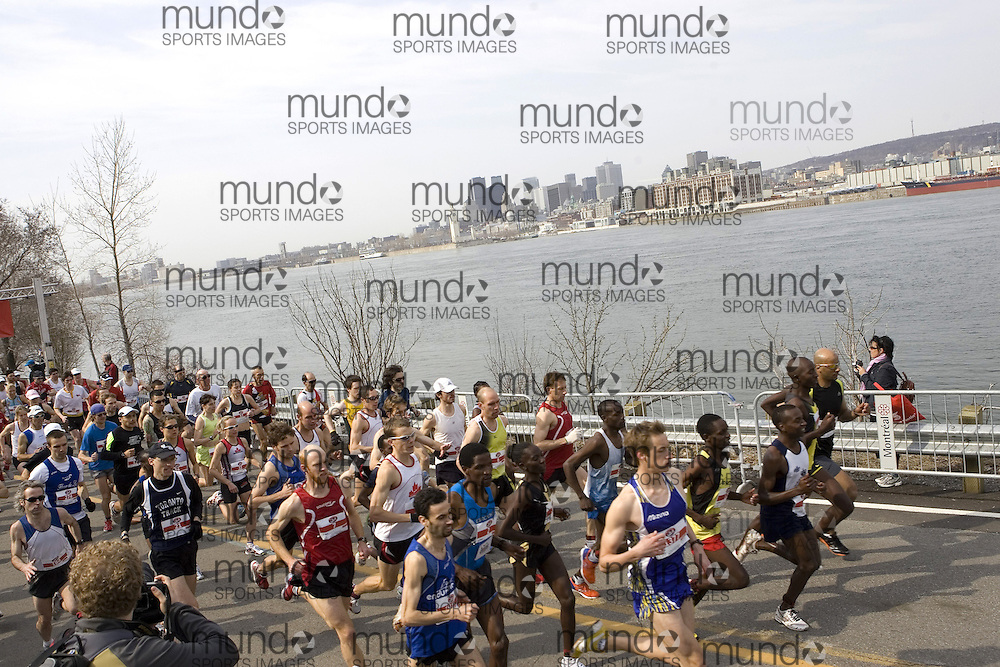 (Montreal--20 April 2008) The Canadian National Half-Marathon Championships were held on Ste-Helene island in Montreal. The photograph is of the start of the race with the Montreal skyline in the background.