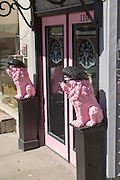 Cool Catz ice cream parlor decorated with pink lions in the tiny village of Burnsville, North Carolina. Burnsville is the start of the Quilt Trail which honors handmade quilt designs of the rural Appalachian region.