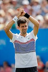 Aegon International 2017- Eastbourne - England - ATP Men's Singles Final. Novak Djokovic of Serbia celebrating winning men's final against Gael Monfils of France. Saturday, 1st July, 2017 - Devonshire Park.<br /> (Photo by Nick Walker/Sport Picture Library)