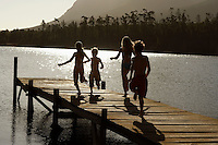 Four children (7-9) running down dock by lake back view.