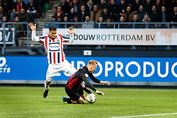 (L-R)  Darryl Lachman of Willem II, Mike van Duinen of Excelsior during the Dutch Eredivisie match between sbv Excelsior Rotterdam and Willem II Tilburg at Van Donge & De Roo stadium on April 06, 2018 in Rotterdam, The Netherlands