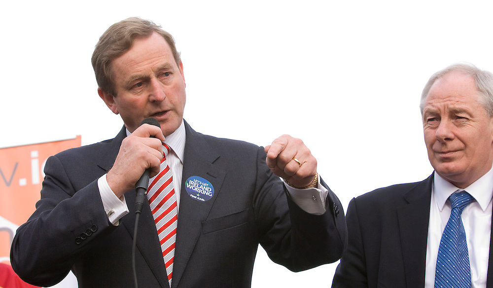 Enda Kenny and Michael Ring on the election campaing in Westport, Co. Mayo. Pic: Michael Mc Laughlin