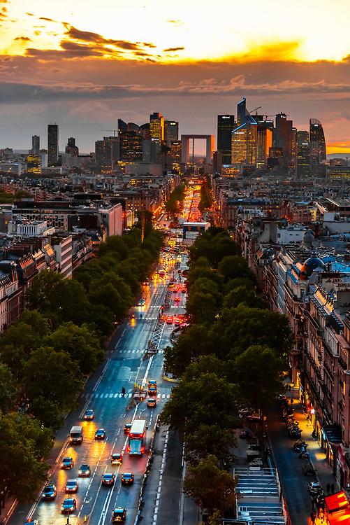 Avenue de la Grande Armee leading to La Défense, which is a major business district located three kilometres west of the city limits of Paris. Paris, France.