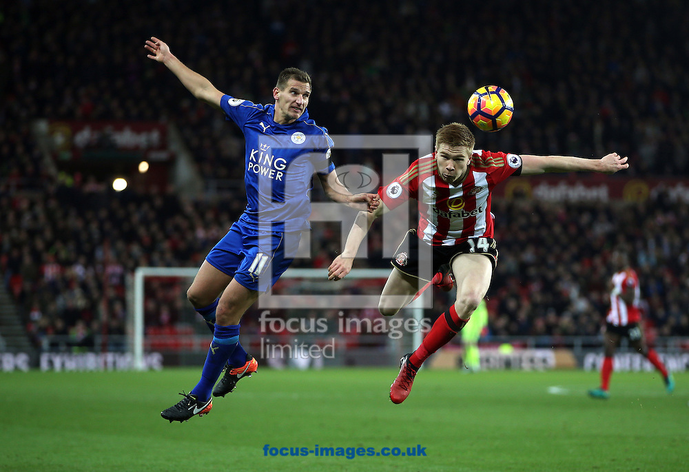 Duncan Watmore of Sunderland and Marc Albrighton of Leicester City during the Premier League match at the Stadium Of Light, Sunderland<br /> Picture by Christopher Booth/Focus Images Ltd 07711958291<br /> 03/12/2016