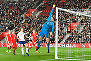 Laura O'Sullivan (1) of Wales stretches to cover an England shot at goal which just goes over the bar during the FIFA Women's World Cup UEFA Qualifier match between England Ladies and Wales Women at the St Mary's Stadium, Southampton, England on 6 April 2018. Picture by Graham Hunt.