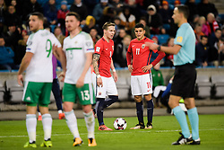 October 8, 2017 - Oslo, NORWAY - 171008  Alexander Toft Søderlund and Mohamed Elyounoussi of Norway   during the FIFA World Cup Qualifier match between Norway and Northern Ireland on October 8, 2017 in Oslo..Photo: Jon Olav Nesvold / BILDBYRÃ…N / kod JE / 160041 (Credit Image: © Jon Olav Nesvold/Bildbyran via ZUMA Wire)