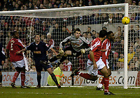 Photo: Glyn Thomas.<br />Nottingham Forest v Walsall. Coca Cola League 1.<br />10/12/2005.<br />Walsall's keeper Joe Murphy (C) makes a late save to deny Forest a winner.