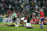 Action from the 2008-2009 opening event in the IRB World sevens series, the Emirates Airline Dubai Sevens 2008 tournament at the new Sevens Stadium in Dubai on 28th/29th November 2008. The cup final between South Africa and England. South Africa players celebrate victory.