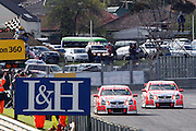 Garth Tander in the Holden Racing Team Commodore leads team mate Will Davison in a 1-2 finish at the Norton 360 Sandown Challenge held at the Sandown International Motor Raceway, Victoria on Sunday 2nd August. 2009 V8 Supercar Series Rounds 13 and 14. Photo © Clay Cross/PHOTOSPORT