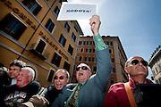 2013/04/18 Roma, proteste in piazza Montecitorio contro la mancata candidatura di Stefano Rodota' a presidente della Repubblica. Nella foto alcuni manifestanti.<br /> Rome, protests and demo in Piazza Montecitorio against the non-candidacy of Stefano Rodota ' for president . In the picture some protesters - &copy; PIERPAOLO SCAVUZZO