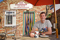 Capital of the Wolds, The East Yorkshire Town of Driffield. Pictured Terry Holmes who runs the Riverhead Tea Room & Ice Cream Parlour, popular with Visitors and motorcyclists.