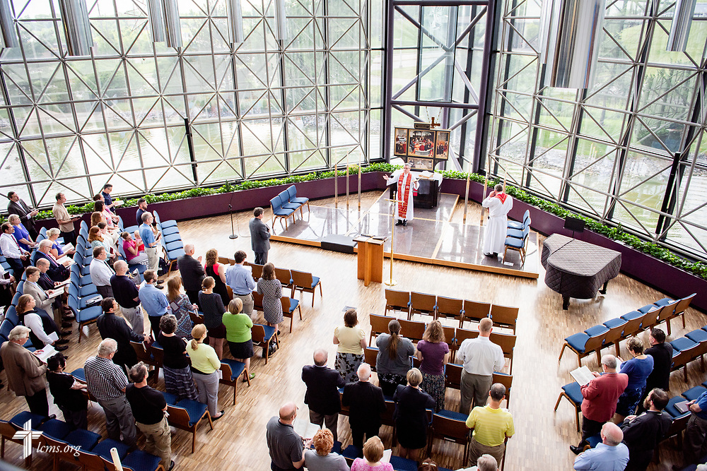 The Rev. Kevin D. Robson, chief mission officer, leads a Service of Installation for the Rev. Robert Zagore, executive director in the LCMS Office of National Mission, in the chapel of the International Center of The Lutheran Church–Missouri Synod on Wednesday, May 30, 2018, in St. Louis. LCMS Communications/Erik M. Lunsford
