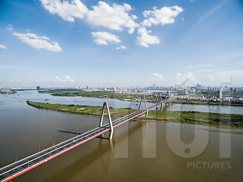 Aerial view of Nhat Tan bridge in Hanoi, Vietnam, Southeast Asia
