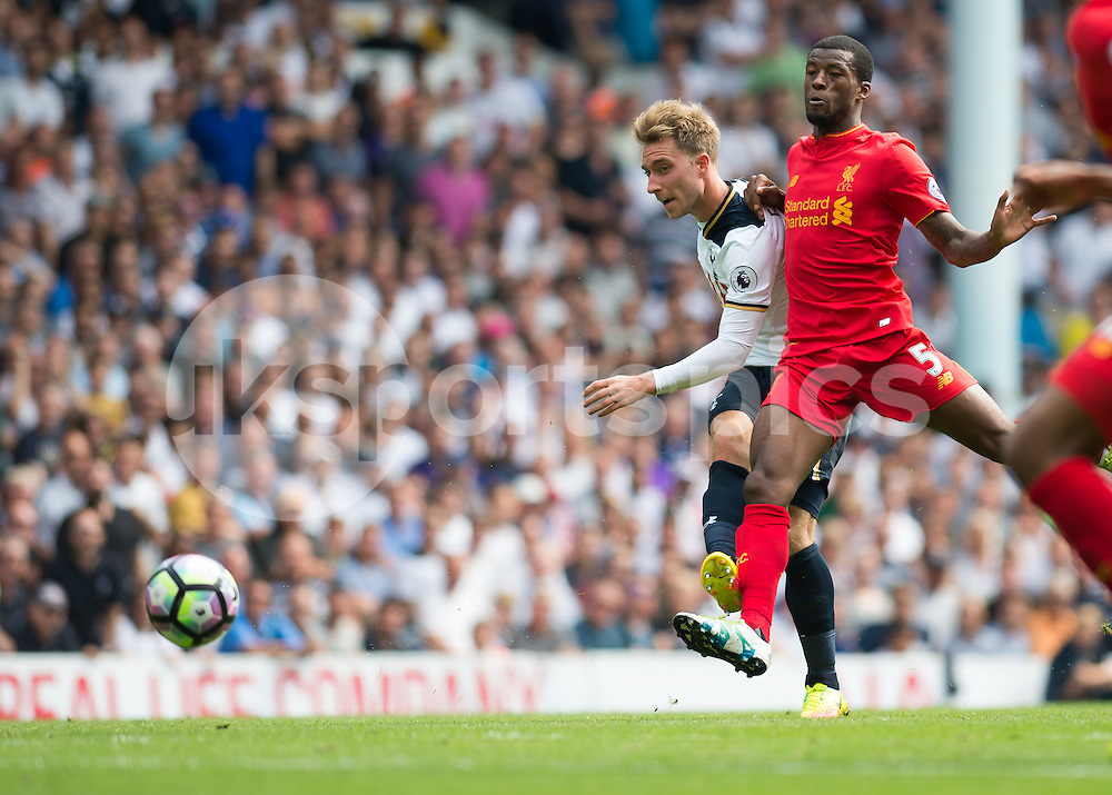 Christian Eriksen of Tottenham Hotspur shoots at goal during the Premier League match between Tottenham Hotspur and Liverpool at White Hart Lane, London, England on 27 August 2016. Photo by Vince  Mignott.