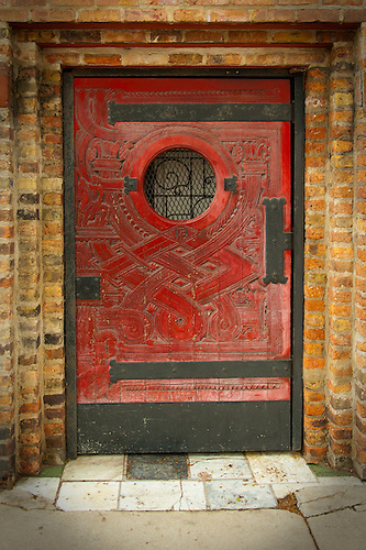 Wooden Classic Red Door With Metal Frame In Chicago.
