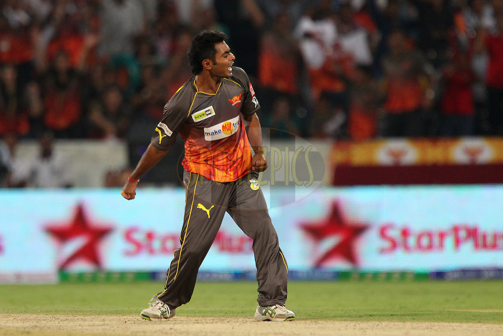 Ashish Reddy celebrates the wicket of Ross Taylor during match 3 of of the Pepsi Indian Premier League between The Sunrisers Hyderabad and The Pune Warriors held at the Rajiv Gandhi International  Stadium, Hyderabad  on the 5th April 2013..Photo by Ron Gaunt-IPL-SPORTZPICS..Use of this image is subject to the terms and conditions as outlined by the BCCI. These terms can be found by following this link:..http://www.sportzpics.co.za/image/I0000SoRagM2cIEc