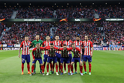 May 3, 2018 - Madrid, Spain - PLAYERS of Atletico de Madrid pose for a team photo prior to the UEFA Europa League, semi final, 2nd leg football match between Atletico de Madrid and Arsenal FC on May 3, 2018 at Metropolitano stadium in Madrid, Spain (Credit Image: © Manuel Blondeau via ZUMA Wire)