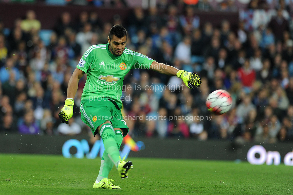 goalkeeper Sergio Romero of Manchester Utd in action.Barclays Premier League match, Aston Villa v Manchester Utd at Villa Park in Birmingham, Midlands on Friday 14th August  2015.<br /> pic by Andrew Orchard, Andrew Orchard sports photography.