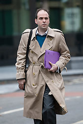 © Licensed to London News Pictures. 03/01/2018. London, UK. RICHARD HOLDEN, former special adviser to Michael Fallon arrives at Southwark Crown Court in London. Richard Holden allegedly attacked a woman in her 20s at a party in London in December 2016. The 32-year-old from south-east London denies a count of sexual assault. Photo credit: Vickie Flores/LNP