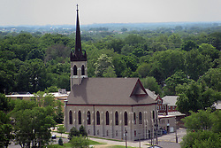 05 June 2014:   Downtown Bloomington. Steeple of Church