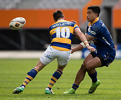 Otago's Josh Ioane, right, offloads a pass against Bay of Plenty in the Mitre 10 Cup rugby match, Forsyth Barr Stadium, Dunedin, New Zealand, Oct. 7 2017.  Credit:SNPA / Adam Binns ** NO ARCHIVING**