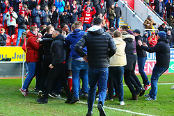 Fans invade the pitch to celebrate with Rotherham United players after a 103rd minute winner - Mandatory by-line: Ryan Crockett/JMP - 24/02/2018 - FOOTBALL - Aesseal New York Stadium - Rotherham, England - Rotherham United v Doncaster Rovers - Sky Bet League One