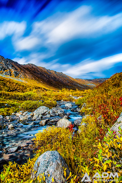 Upper Willow Creek in Hatcher Pass. late summer, afternoon
