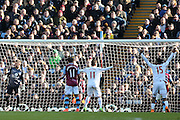 Liverpool midfielder James Milner free kick sneaks in to score Liverpool  2nd goal during the Barclays Premier League match between Aston Villa and Liverpool at Villa Park, Birmingham, England on 14 February 2016. Photo by Simon Davies.