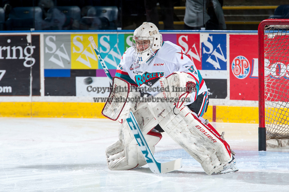 KELOWNA, CANADA - MARCH 5: Brodan Salmond #31 of Kelowna Rockets warms up against the Kamloops Blazers on March 5, 2016 at Prospera Place in Kelowna, British Columbia, Canada.  (Photo by Marissa Baecker/Shoot the Breeze)  *** Local Caption *** Brodan Salmond;