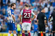 Davy Propper (Brighton) & Erik Pieters (Burnley) following the Premier League match between Brighton and Hove Albion and Burnley at the American Express Community Stadium, Brighton and Hove, England on 14 September 2019.