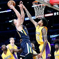 05 December 2016: Utah Jazz forward Gordon Hayward (20) goes for the jump shot over Los Angeles Lakers forward Brandon Ingram (14) during the Utah Jazz 107-101 victory over the Los Angeles Lakers, at the Staples Center, Los Angeles, California, USA.