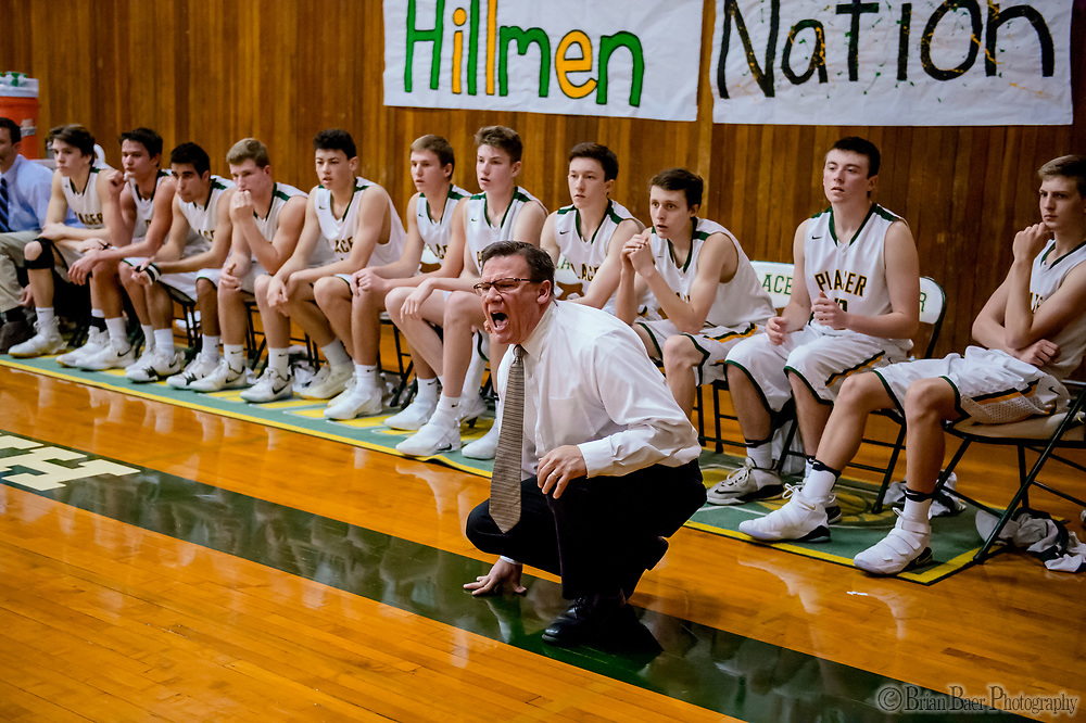Placer Hillman head coach Mark Lee yells to his team during the third quarter as the Placer Hillman host the Liberty Ranch Hawks Varsity basketball team in the DIV NorCal boys quarterfinal, Saturday Mar 10, 2018.  <br /> photo by Brian Baer