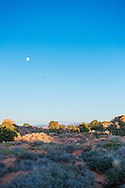 Moon over Arches National Park in Moab, Utah.