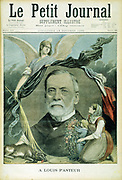 Louis Pasteur (1822-1895) French chemist. Bacteriology. Hydrophobia. Inoculation by attenuated culture. Popular tribute from French 'Le Petit Journal', Paris, at the time of his death