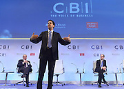 © Licensed to London News Pictures. 19/11/2012. London, UK Leader of the Labour Party Ed Miliband (centre) speaks at the CBI (Confederation of British Industry's) conference at Grosvenor House Hotel today 19th October 2012 . Photo credit : Stephen Simpson/LNP