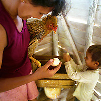 A woman and her son collect eggs in Viñales, Cuba.