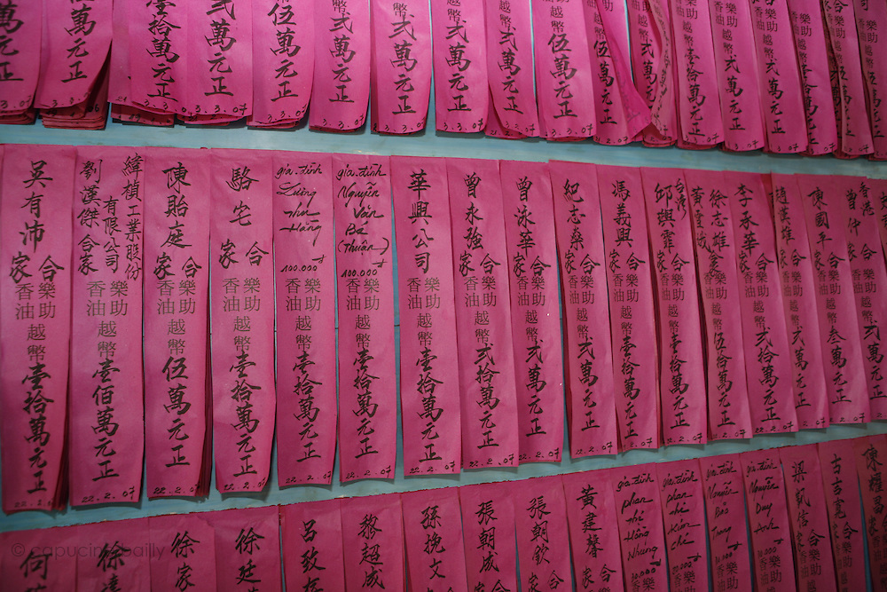 Ho Chi Minh City (Saigon), Vietnam. .March 16th 2007..The names of the donors in the Thien Hau Pagoda