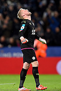 Leicester City goalkeeper Kasper Schmeichel (1) celebrates after Leicester City forward Jamie Vardy (9) scores a goal to make it 3-0 during the Premier League match between Leicester City and Liverpool at the King Power Stadium, Leicester, England on 27 February 2017. Photo by Jon Hobley.