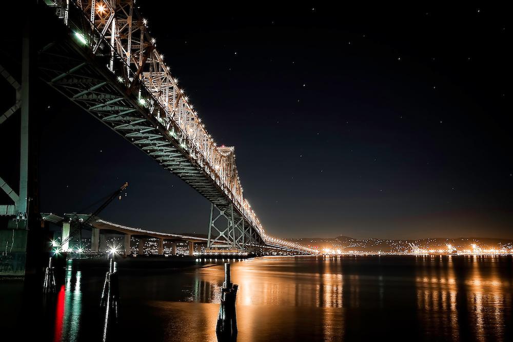 San Francisco/Oakland Bay Bridge, at early morning, as seen from southeast corner of Yerba Buena Island. Copyright 2007 Reid McNally.