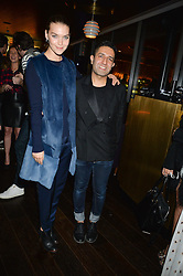 ARIZONA MUSE andOSMAN YOUSEFZADA at the Launch Of Osman Yousefzada's 'The Collective' 4th edition with special guest collaborator Poppy Delevingne held in the Rumpus Room at The Mondrian Hotel, 19 Upper Ground, London SE1 on 24th November 2014, sponsored by Storm models and Beluga vodka.