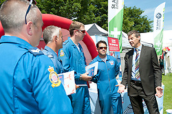 Steve Cram speaks to the 'blues' the support and service team for the RAF Red Arrows<br /> <br /> Steve Cram spent the day at the Lincolnshire Show with Clydesdale Bank and Yorkshire Bank.  He also visited the Sports Zone, at the show, which was organised by Lincolnshire Sport.<br /> <br /> Picture: Chris Vaughan/Chris Vaughan Photography<br /> Date: Wednesday, June 24, 2015