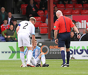 Dundee's Jim McAlister in a daze after being hit by a shot from Ross County's Rocco Quinn - Ross County v Dundee, SPFL Premiership at the Global Energy Stadium, Dingwall<br /> <br />  - &copy; David Young - www.davidyoungphoto.co.uk - email: davidyoungphoto@gmail.com