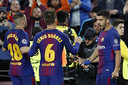 (L-R) Jordi Alba of FC Barcelona, Denis Suarez of FC Barcelona,Luis Suarez of FC Barcelona during the UEFA Champions League quarter final match between FC Barcelona and AS Roma at the Camp Nou stadium on April 04, 2018 in Barcelona, Spain.