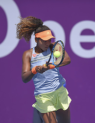 DOHA, Feb. 10, 2018  Naomi Osaka of Japan hits a return during the qualifying match against Lu Jingjing of China at the 2018 WTA Qatar Open in Doha, Qatar, on Feb. 10, 2018. Naomi Osaka won 2-0. (Credit Image: © Nikku/Xinhua via ZUMA Wire)