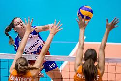 24-08-2017 NED: World Qualifications Netherlands - Czech Republic, Rotterdam<br /> De Nederlandse volleybalsters hebben op het WK-kwalificatietoernooi ook hun derde duel gewonnen. Oranje versloeg in het Topsportcentrum in Rotterdam Tsjechi&euml; in drie sets: 25-18, 25-22 en 25-18. / Marie Toufarova #20 of Czech Republic