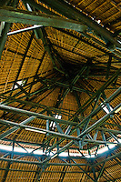 Looking up at the ceiling of a building at Pura Taman Ayun near Mengwi in Bali, Indonesia