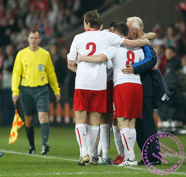 FIFA World Cup European Qualifying Group 3.Poland v San Marino.Saturday 1st of April 2009.Poland manager Leo Beenhakker and his players celebrate after the first goal for Poland ..Photo by : Piotr Hawalej / WROFOTO