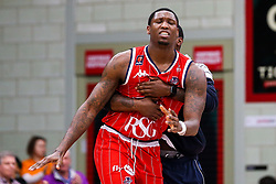 Fred Thomas of Bristol Flyers cuts a dejected figure after defeat to Leicester Riders - Photo mandatory by-line: Robbie Stephenson/JMP - 11/01/2019 - BASKETBALL - Leicester Sports Arena - Leicester, England - Leicester Riders v Bristol Flyers - British Basketball League Championship